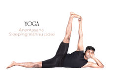 Posa di Anantasana di yoga Fotografia Stock Libera da Diritti