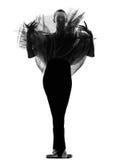 Posa di condizione del danzatore di balletto della donna Fotografie Stock