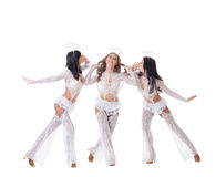 Posa di Cuties vestita come angeli, isolati su bianco Immagini Stock
