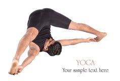 Posa di halasana di konasana di supta di yoga Fotografie Stock