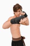 Posa di lotta intestina del combattente di arti marziali Immagini Stock Libere da Diritti