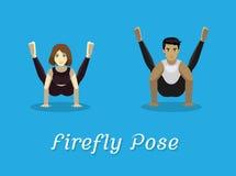 Posa di Manga Style Cartoon Yoga Firefly Immagine Stock