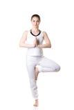 Posa di Vrikshasana di yoga immagine stock libera da diritti