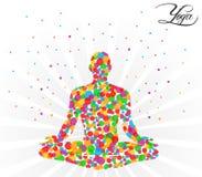 Posa di yoga su un fondo beige con i cerchi di colore - vector eps10 illustrazione di stock