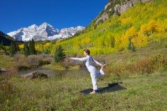 Posa marrone rossiccio di ballo di yoga di Belhi Immagini Stock