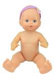 Posa nuda di seduta della bamboletta, fondo dell'isolato Fotografia Stock
