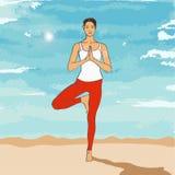 Posa Vrikshasana di yoga Fotografia Stock