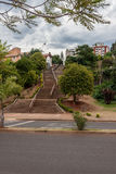 Posadas Argentina. The stairs climbing a small hill and the houses and buildings of the city of Posadas, Argentina stock photo