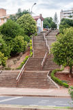 Posadas Argentina. The stairs climbing a small hill and the houses and buildings of the city of Posadas, Argentina royalty free stock images