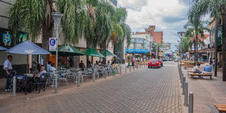Posadas Argentina. A typical street with bars and restaurants. City of Posadas, Argentina royalty free stock image