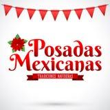Posadas Mexicanas - Bożenarodzeniowy Noclegowy hiszpański tekst Zdjęcia Stock