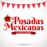 Posadas Mexicanas - jul som inkvarterar spansk text Arkivfoton