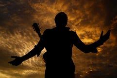 Posando con la chitarra Immagine Stock Libera da Diritti