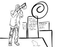 Posaunespieler spielt auf Dach Stadtjazzillustration vektor abbildung