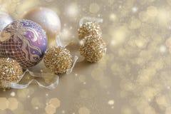 Poscard d'or de Noël Photographie stock