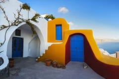 Poscard från Santorini Royaltyfria Bilder