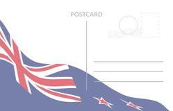 Poscart-Schablone mit wellenartig bewegender Flagge des Neuseelands Lizenzfreie Stockfotos