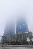 POSCO E&C Tower in Incheon on a foggy day Stock Photo