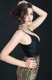 Pose élégante de femme de brune Image stock