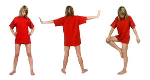 Pose. Women in red T-shirt posing Stock Image