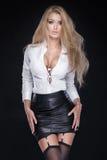Pose blonde élégante de femme photographie stock libre de droits