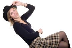 Pose blonde de femme photo libre de droits