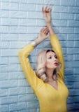 Pose blonde sensuelle de beauté. Photographie stock libre de droits