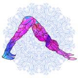 Pose colorée décorative de yoga au-dessus de modèle rond fleuri de mandala Illustration Libre de Droits