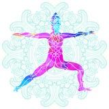 Pose colorée décorative de yoga au-dessus de modèle rond fleuri de mandala Illustration de Vecteur