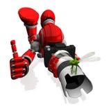 pose com câmera de DSLR, uma libélula de Robot Blue Color do fotógrafo 3D na lente zoom branca superior, polegares acima, fotogra Fotografia de Stock