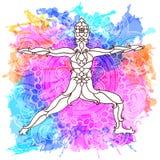 Pose décorative de yoga sur le fond multicolore abstrait avec le modèle rond fleuri de mandala Illustration Stock