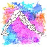 Pose décorative de yoga sur le fond multicolore abstrait avec le modèle rond fleuri de mandala Illustration de Vecteur