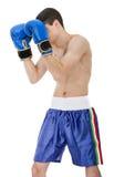Pose défensive de boxe d'homme photographie stock