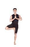 Pose d'arbre de yoga sur le blanc Photos libres de droits