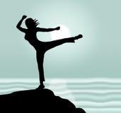 A pose da ioga mostra a iluminação e o corpo do abrandamento ilustração stock