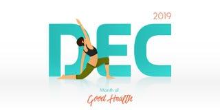Pose da ioga para a bandeira de dezembro Encabeçamento rotineiro da ioga para o molde do calendário Mês do conceito da boa saúde  ilustração royalty free