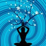 A pose da ioga representa as árvores ambientais e cênicos ilustração royalty free