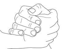 Pose da m?o Duas mãos que guardam as mãos O aperto de mão forte, conceito amigável do apoio, símbolo do negócio, compete ou confl ilustração stock