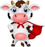 Pose de bande dessinée de vache à super héros illustration stock