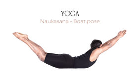 Pose de bateau de naukasana de yoga Photos stock