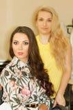 Pose de client et de styliste en coiffure Image libre de droits
