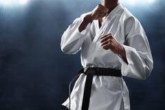 Pose de combate do lutador da arte marcial fotos de stock