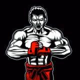 Pose de combattant de mascotte de combattant prête au combat Image stock