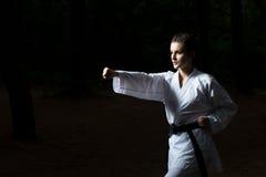 Pose de combattant du Taekwondo au parc photographie stock