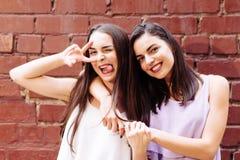 Pose de deux belle amies sur la rue Photo libre de droits
