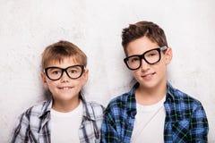 Pose de deux jeunes frères Image libre de droits