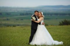 Pose de jeunes mariés sur le champ vert avec un grand paysage b Photos stock