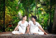 Pose de matsyendrasana de yoga de couples Photographie stock
