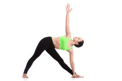 Pose de triangle de yoga Photos stock