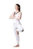 Pose de Vrikshasana da ioga, três quartos de vista Imagem de Stock